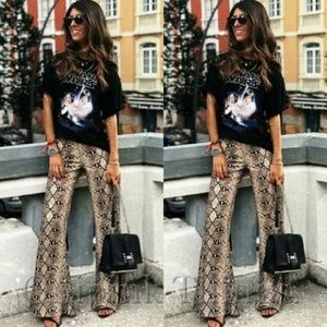 Zara blogger fav high waisted snake print pants